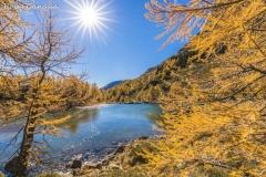 Val Grosina, il lago delle Acquesparse in autunno