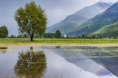 Campi allagati nei pressi di Ardenno